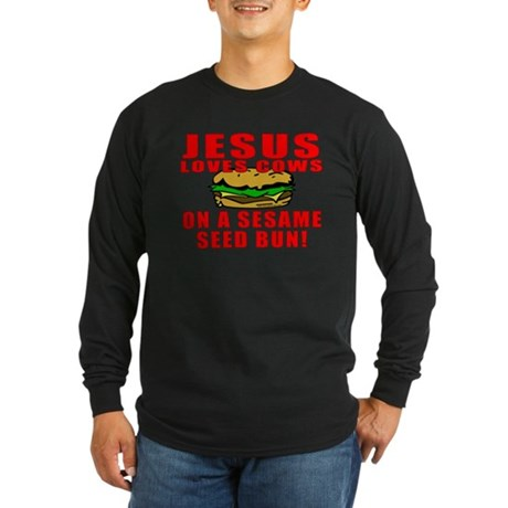 Jesus Loves Animals Long Sleeve Dark T-Shirt