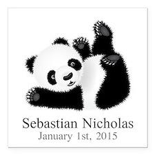 CUSTOM Baby Panda w/Name Birthdate Square Car Magn