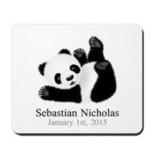 CUSTOM Baby Panda w/Name Birthdate Mousepad