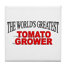 """The World's Greatest Tomato Grower"" Tile Coaster"