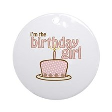 the birthday girl pink brown Ornament (Round)