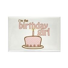 the birthday girl pink brown Rectangle Magnet