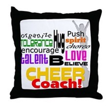 Cheer Coach Words Throw Pillow