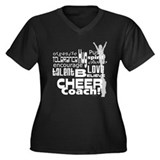 Cheer Coach Words Women's Plus Size V-Neck Dark T-