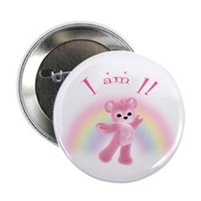 "Rainbow Bear First Birthday Girl 2.25"" Button (100"