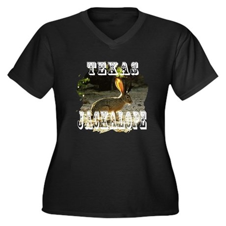 Texas Jackalope Women's Plus Size V-Neck Dark T-Sh