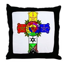 Rose Cross Lamen Throw Pillow