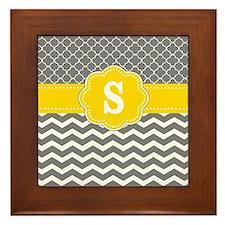 Yellow Gray Chevron Quatrefoil Monogram Framed Til