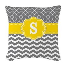Yellow Gray Chevron Quatrefoil Monogram Woven Thro