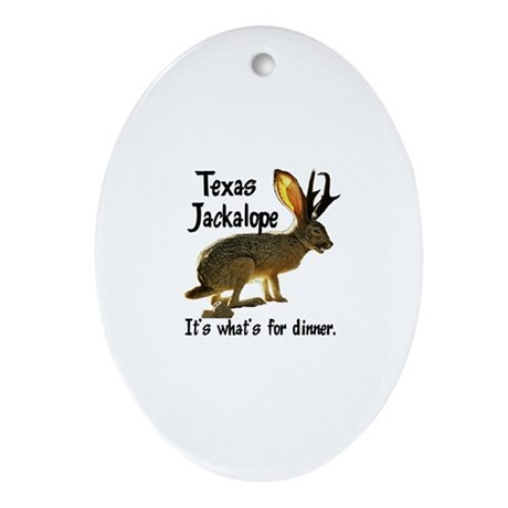 Texas Jackalope Oval Ornament