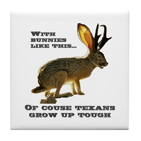 Texas Jackalope Tile Coaster