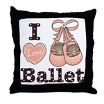 I Love Ballet Pink Shoes Dance Brown Throw Pillow