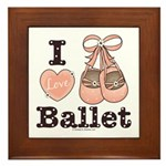 I Love Ballet Shoes Dance Pink Brown Framed Tile