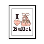 I Love Ballet Dance Shoes Pink Brown Framed Print
