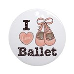 I Love Ballet Slippers Dance Pink Brown Ornament