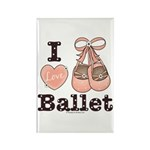 I Love Ballet Slippers Pink Brown Magnet 100 pk