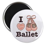 I Love Ballet Slippers Pink Brown Magnet 10 pk