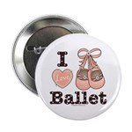 I Love Ballet Ballerina Pink Brown Button 100 pk