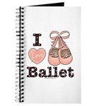 I Love Ballet Shoes Slippers Pink Brown Journal