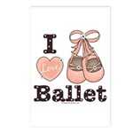 I Love Ballet Ballerina Pink Brown Postcards 8 Pk