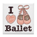 I Love Ballet Dance Shoes Pink Brown Tile Coaster