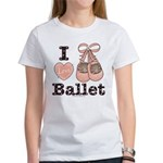 I Love Ballet Shoes Ballerina Pink Brown T-Shirt