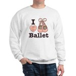 I Love Ballet Shoes Slippers Pink Brown Sweatshirt