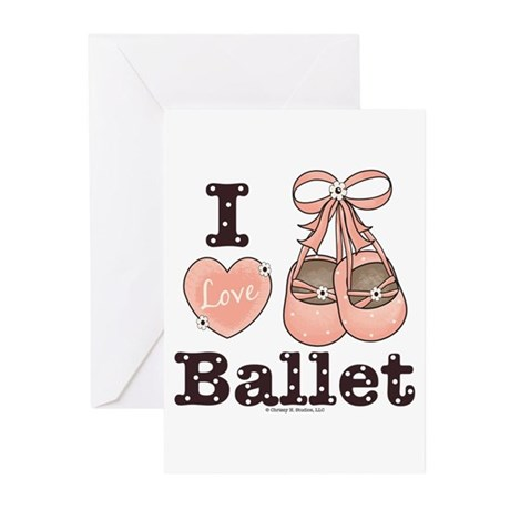I Love Ballet Pink Brown Greeting Cards (Pk of 10)