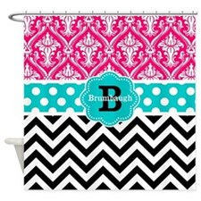 Pink Teal Black Chevron Dots Personalized Shower C
