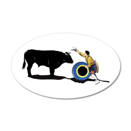 Clown and Bull-No-Text 20x12 Oval Wall Decal
