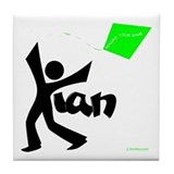 Kian Black and Green Design Tile Coaster