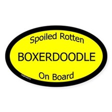 Spoiled Boxerdoodle On Board Oval Decal
