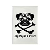 Pug pirate Rectangular Magnet