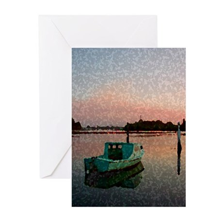 Sunset Boat Greeting Cards (Pk of 10)