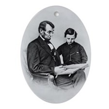 Pres Abraham Lincoln & son Tad Oval Ornament