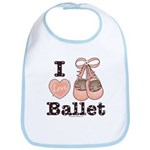 I Love Ballet Shoes Baby Ballerina Pink Brown Bib