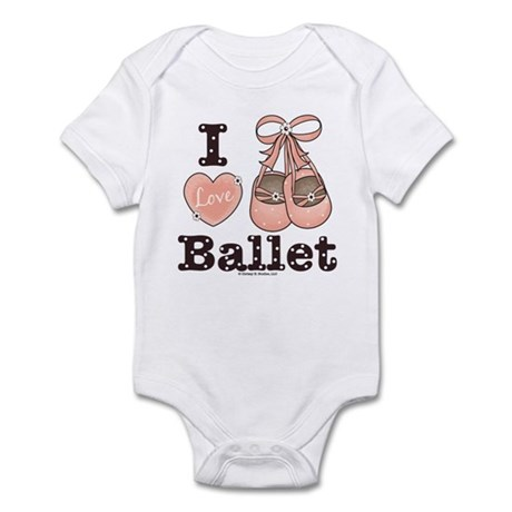 I Love Ballet Shoes Pink Brown Infant Onesie