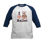 I Love Ballet Pink Brown Blue Kids Baseball Jersey