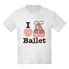 I Love Ballet Dance Pink Brown Kids Grey T-Shirt
