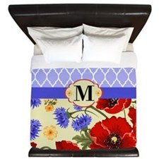 Quatrefoil Poppies Monogram King Duvet