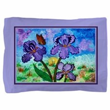 Iris At Sunrise Lavender Trim Pillow Sham