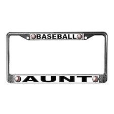 Baseball Aunt Chrome Steel License Plate Frame