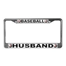 Baseball Husband Chrome Steel License Plate Frame