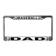 Baseball Dad Chrome Steel License Plate Frame