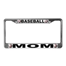 Baseball Mom Chrome Steel License Plate Frame