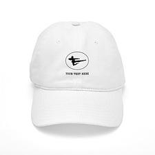 Jump Kick Silhouette Oval (Custom) Baseball Baseball Cap