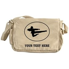 Jump Kick Silhouette Oval (Custom) Messenger Bag