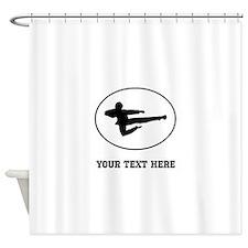 Jump Kick Silhouette Oval (Custom) Shower Curtain