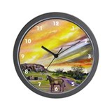 Sunset On The Prairie Wall Clock