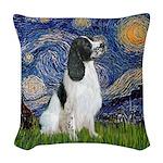 Starry - English Springer7 Woven Throw Pillow